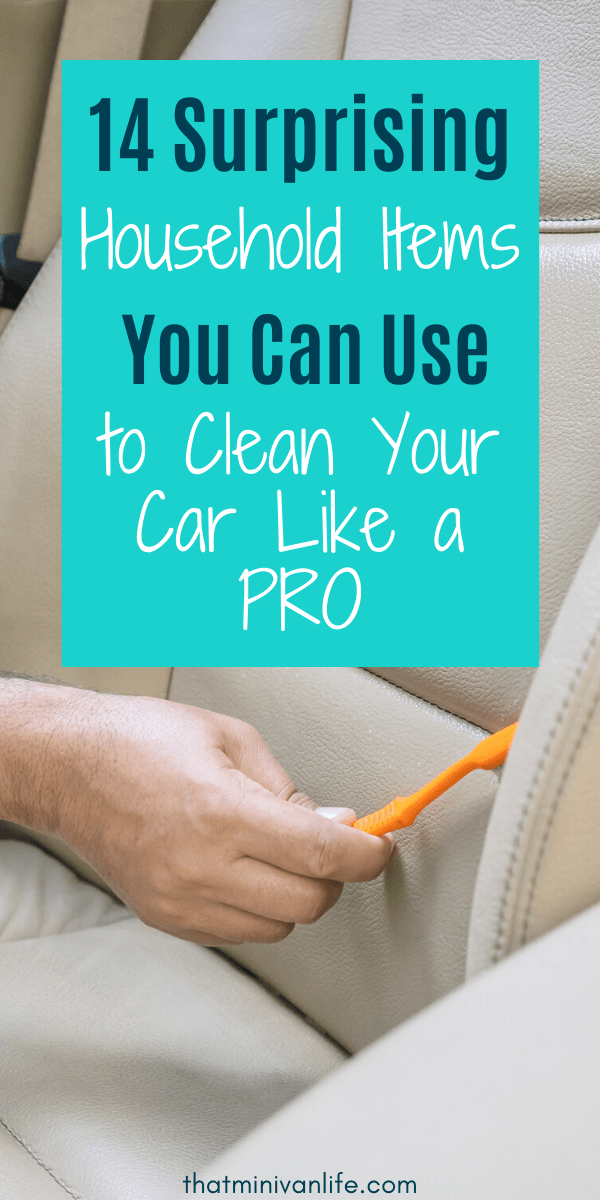 Cleaning car seat with a toothbrush