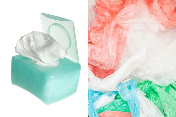 Trash bags in baby wipe container