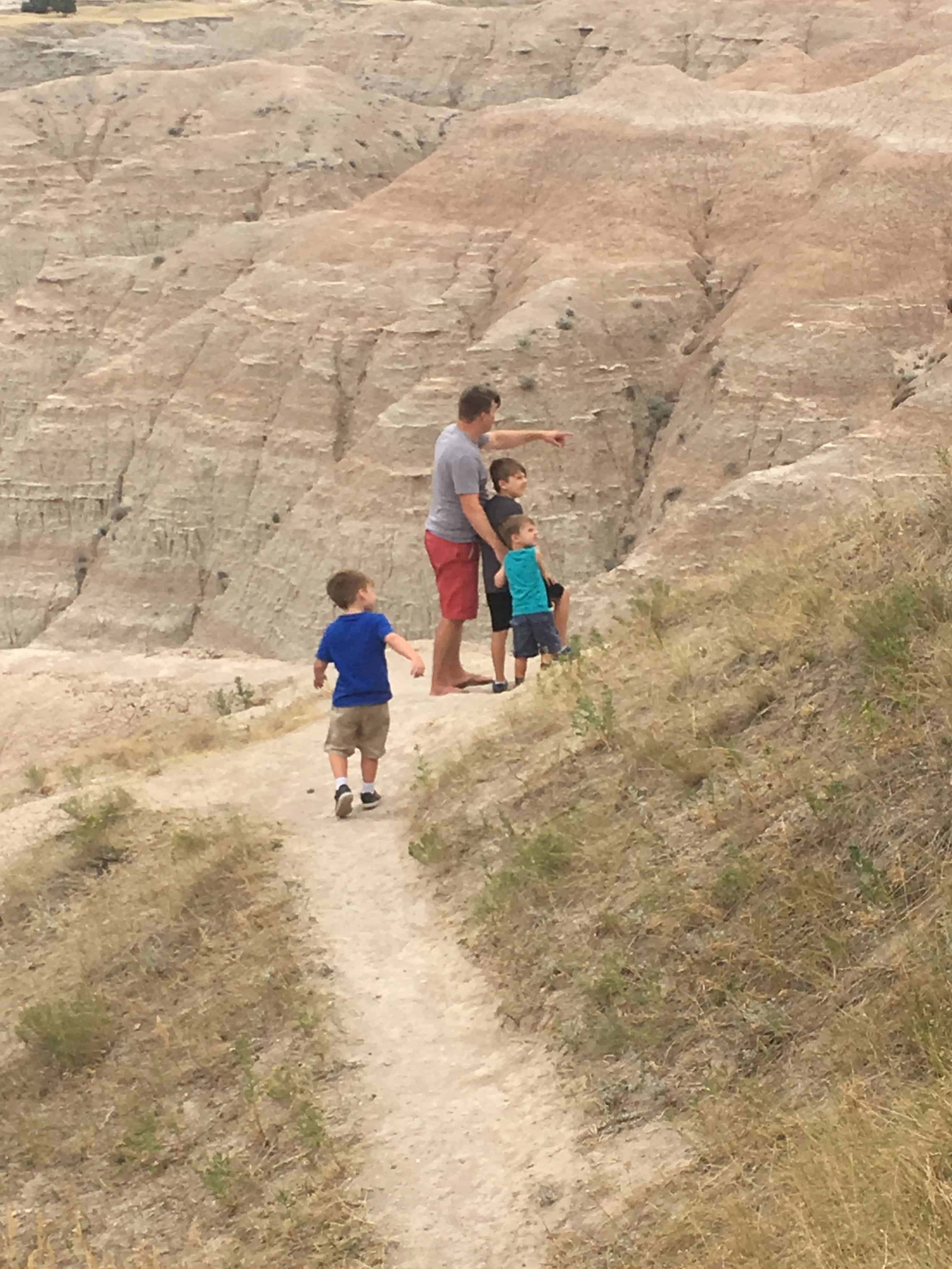 Family at Badlands National Park on vacation