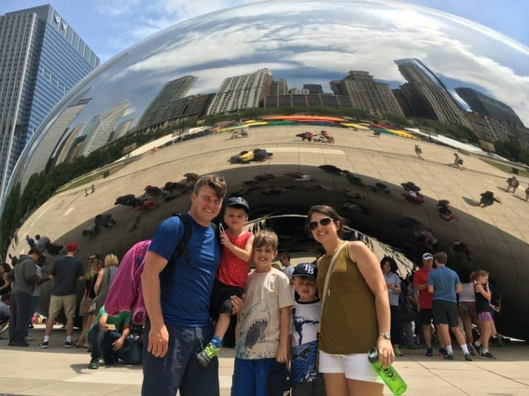Family at Millennium Park in front of the bean