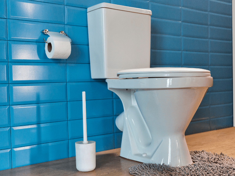 Toilet in bathroom with blue tile