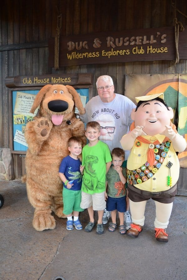 "Children with characters from ""Up"" at Disney's Animal Kingdom Park"