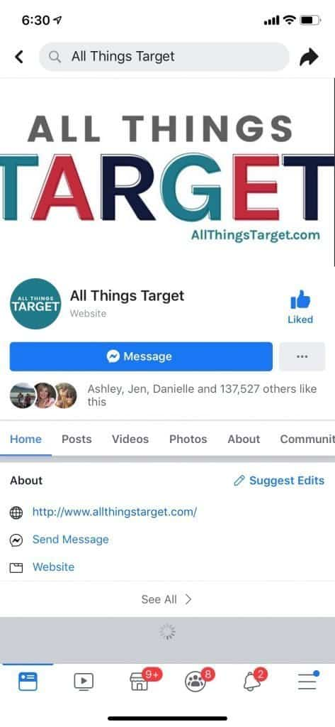 Screenshot of All Things Target facebook page