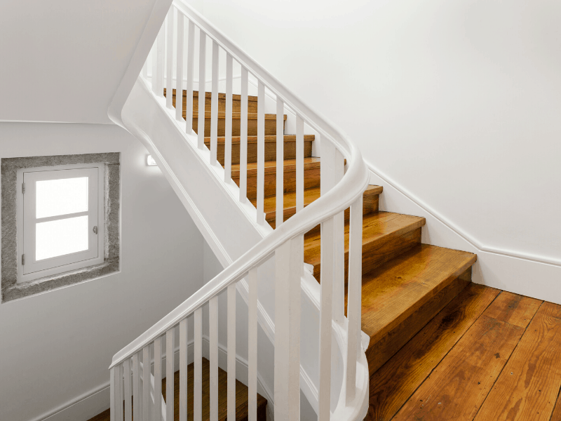 Stairwell walls,a commonly missed place when cleaning
