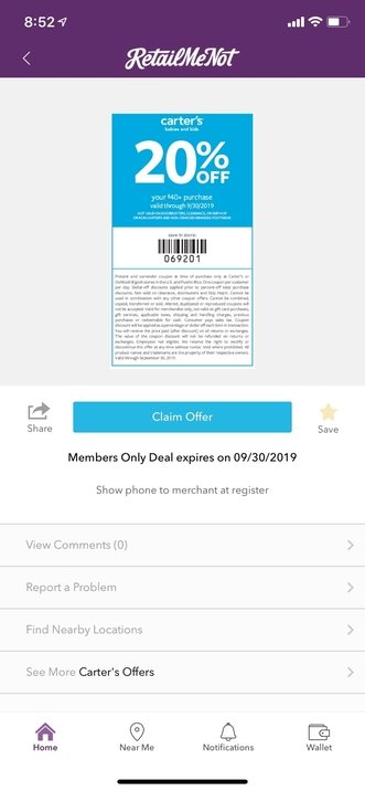 Retail Me Not coupon app screenshot