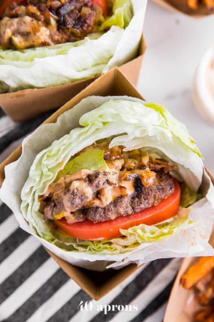 Whole30 lettuce wrapped hamburger