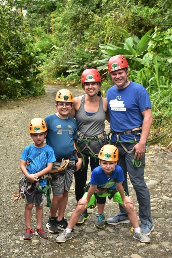 Family dressed for zip lining in Costa Rica