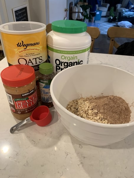 Ingredients for chocolate peanut butter protein balls