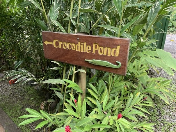 Sign for Crocodile Pond at Canopy Safari in Costa Rica