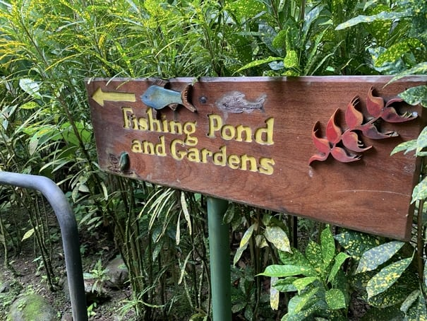 Sign for Fishing Pond at Canopy Safari in Costa Rica