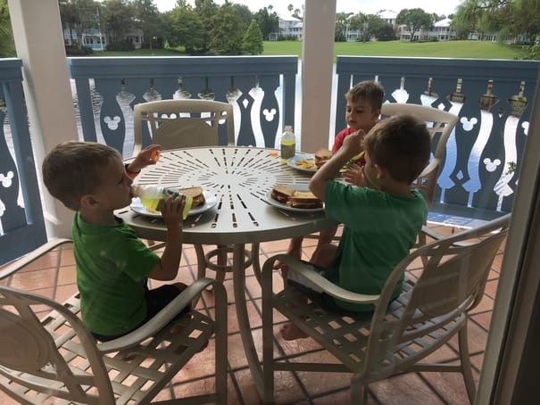 Children eating money in hotel room to eat cheap at disney world