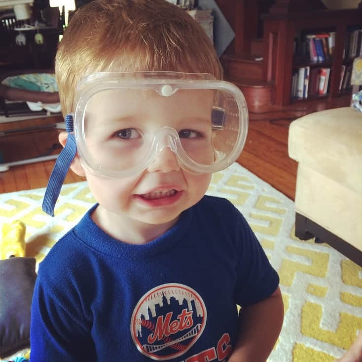 Little boy with safety goggles