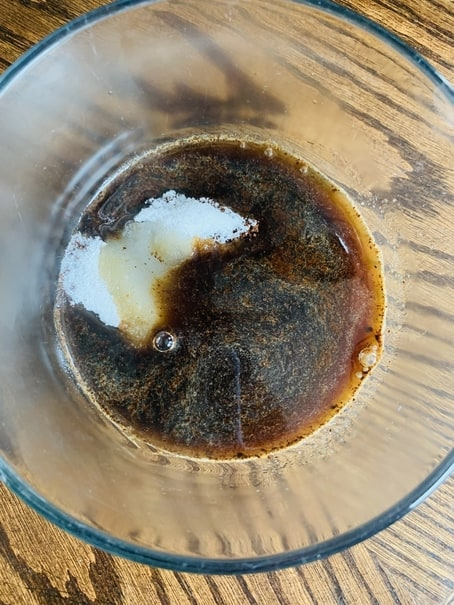 Boiling water, sugar and instant coffee