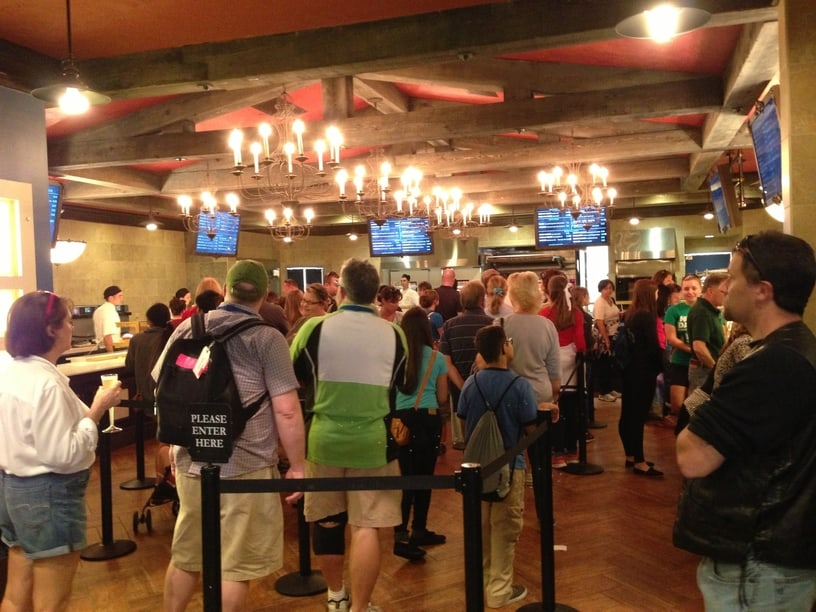 Line of people at Quick Service Restaurant at Disney World