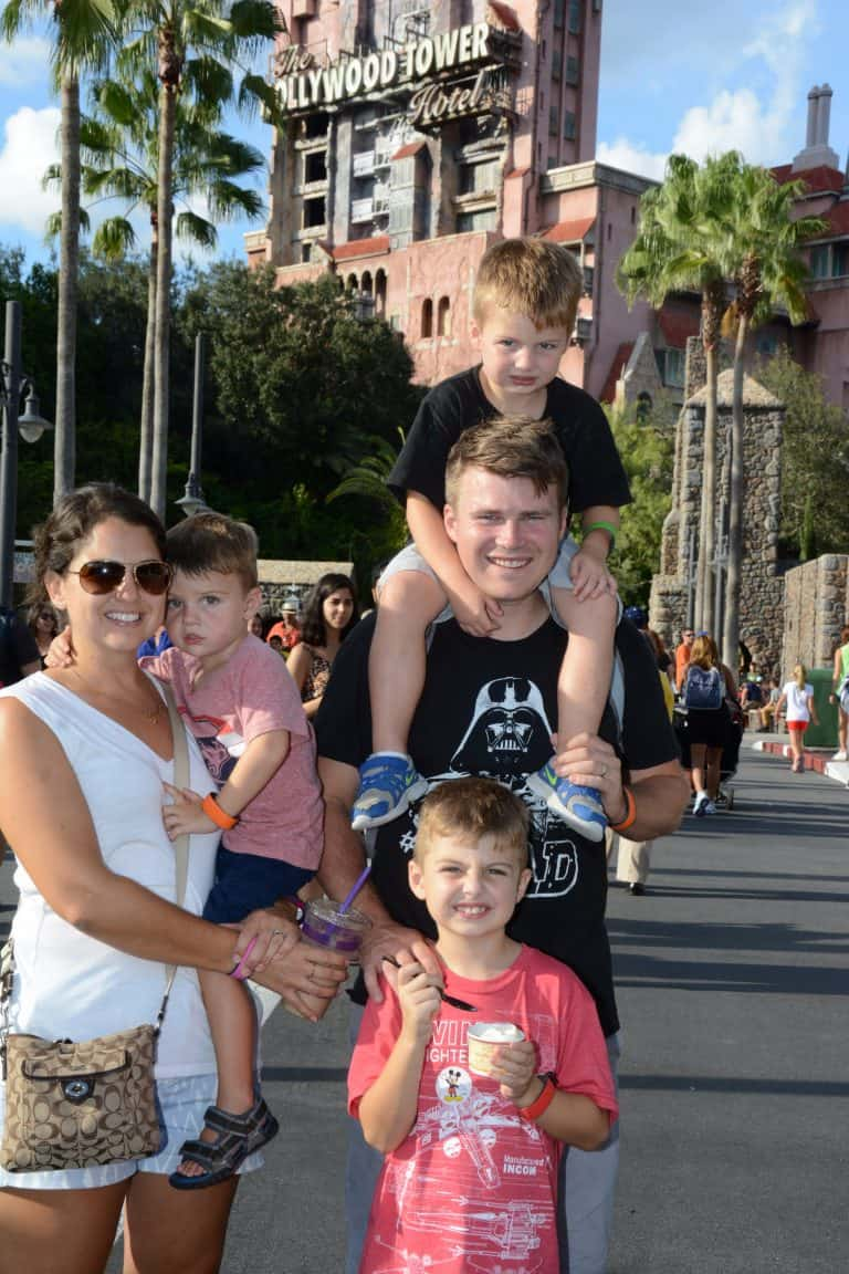 Family in front of the Tower of Terror at Hollywood Studios, Disney World
