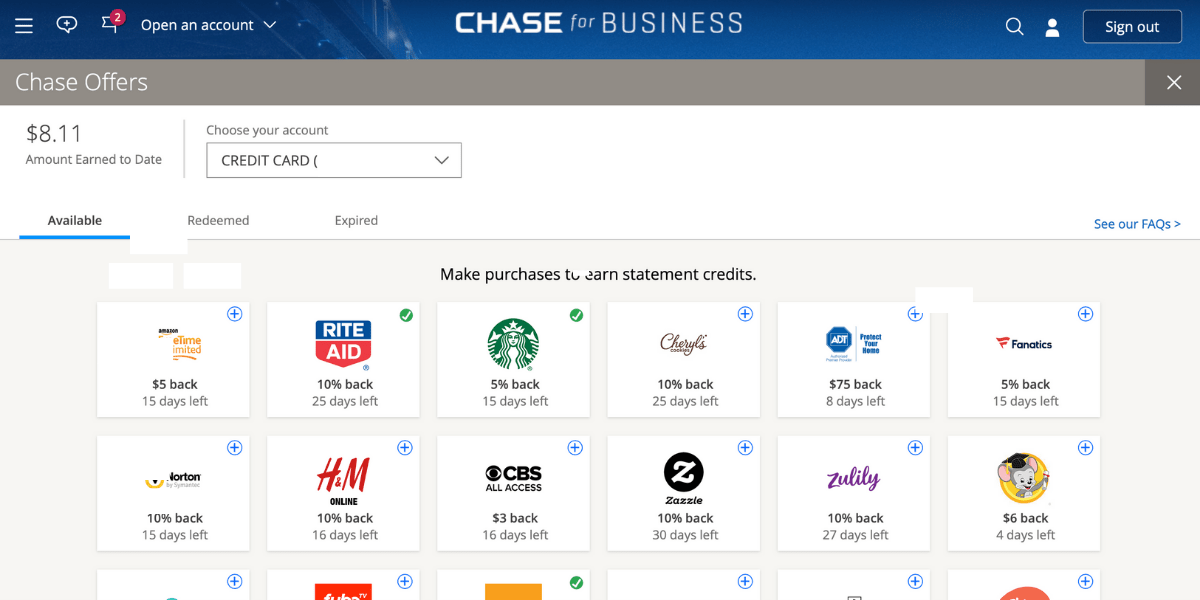 Chase Offers Menu