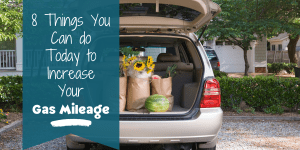 Minivan with open hatch full of groceries