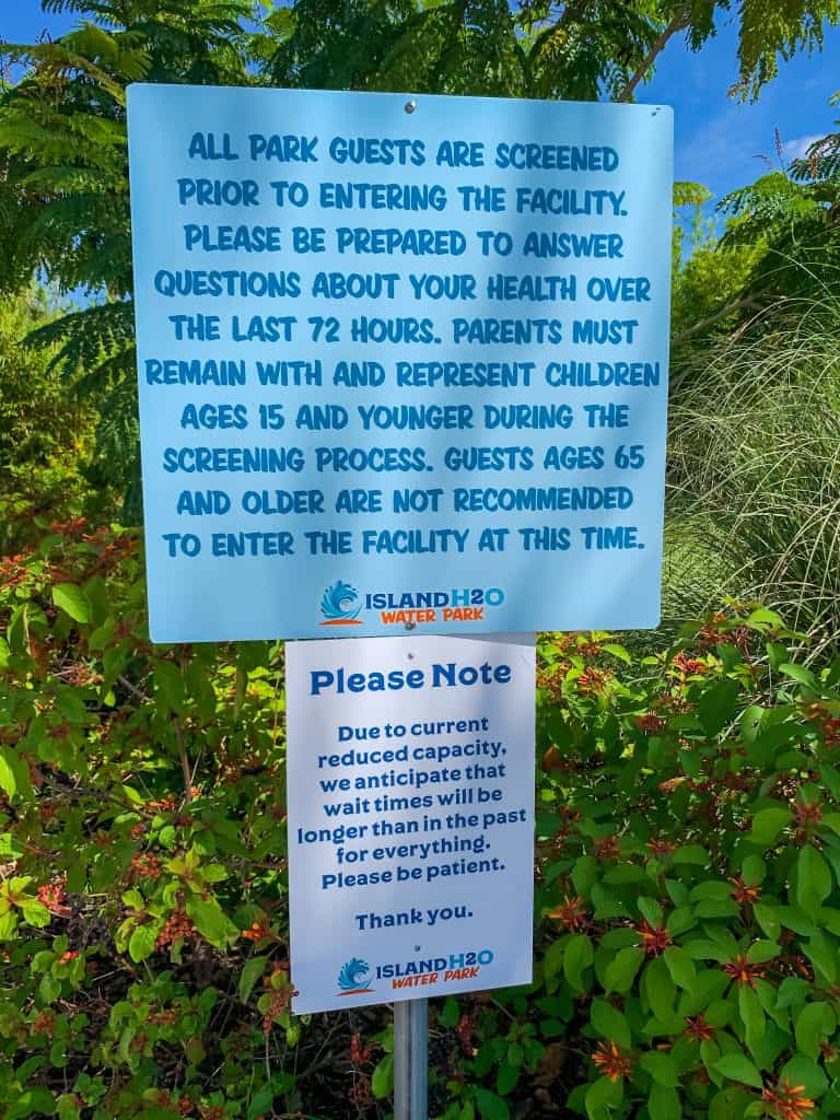 COVID rules of entry sign at Island H2O water park