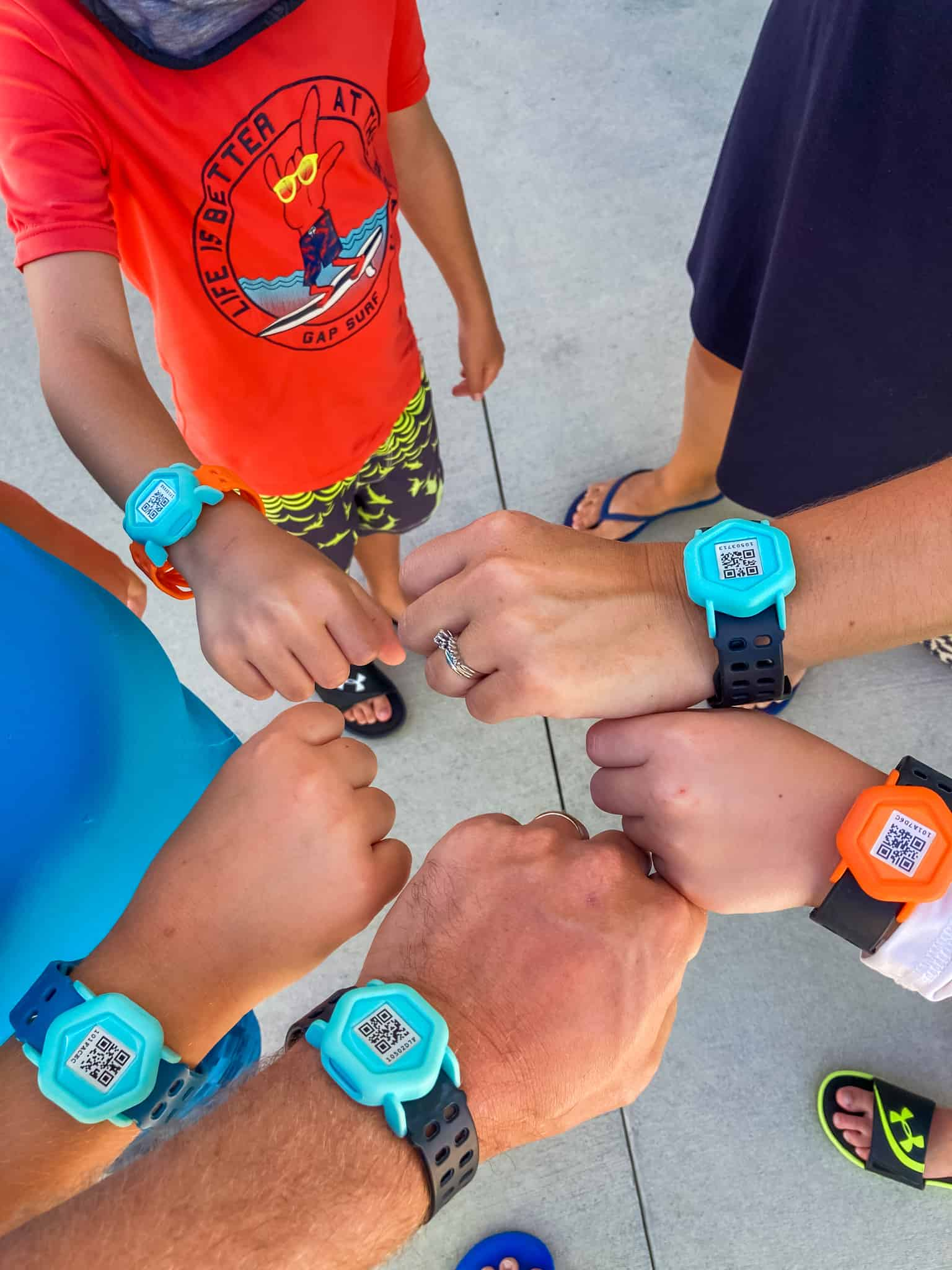 Family wearing wrist bands at Island H2O Live water park