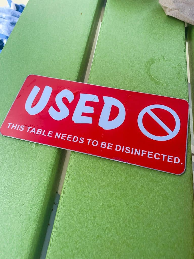 """Used"" Table marker on table at Island H2O Live water park"