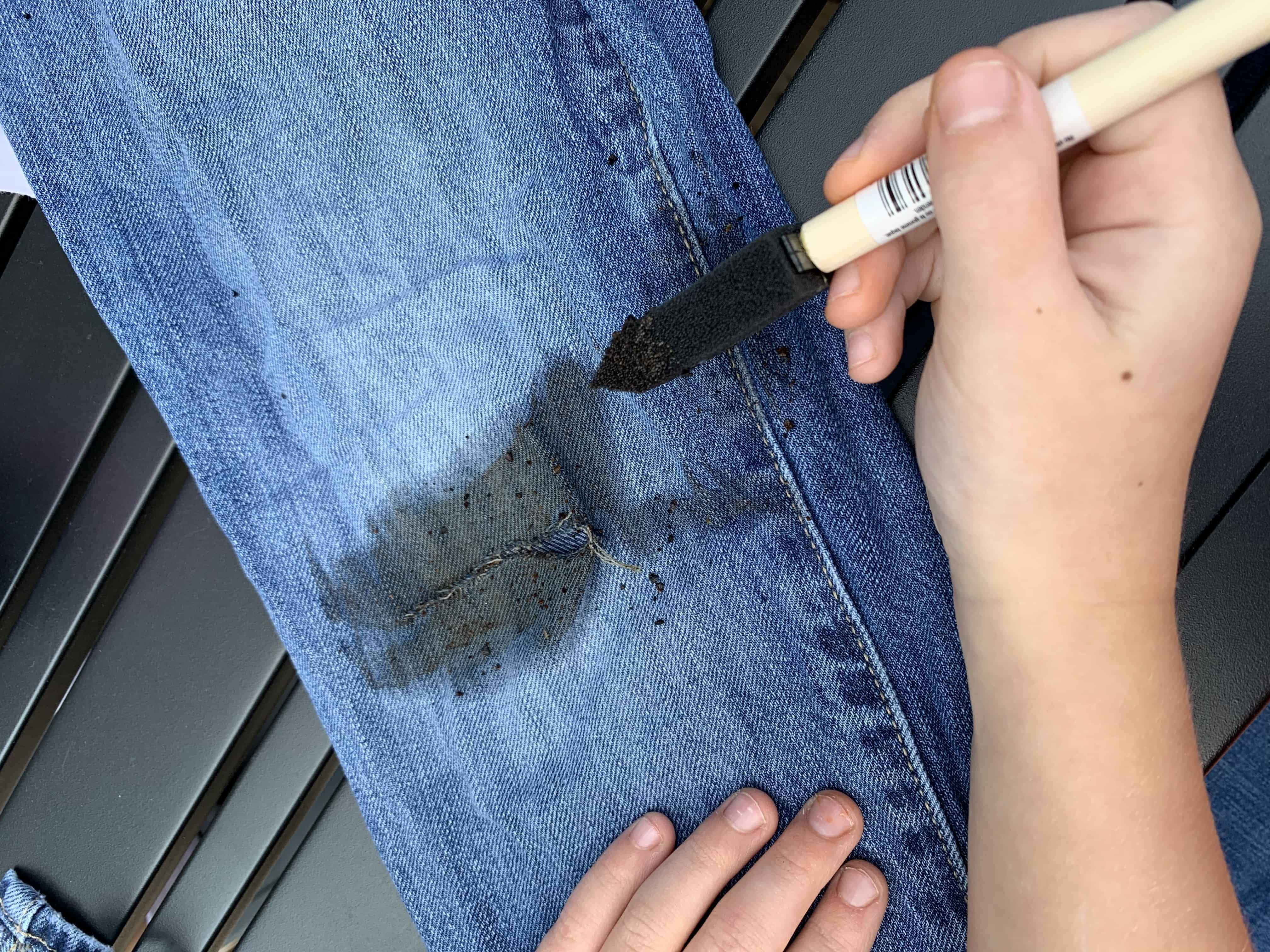 painting stain on zombie costume pants