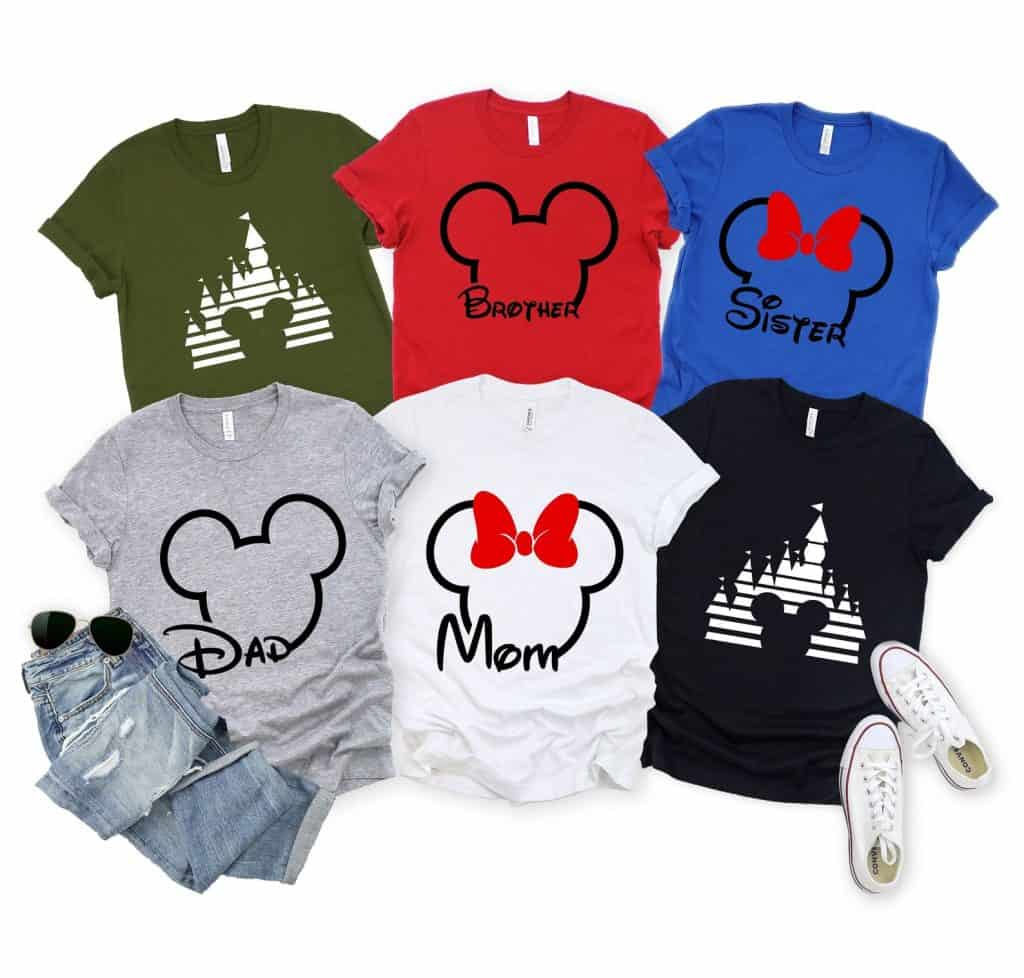 Customizable Mickey or Castle tees