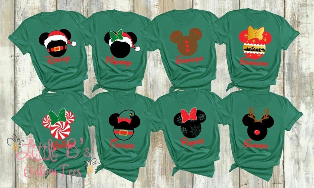Christmas themed Disney family shirts