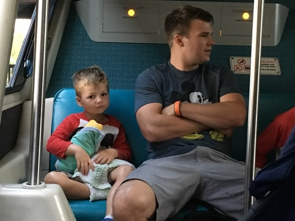Father and son on Disney World monorail