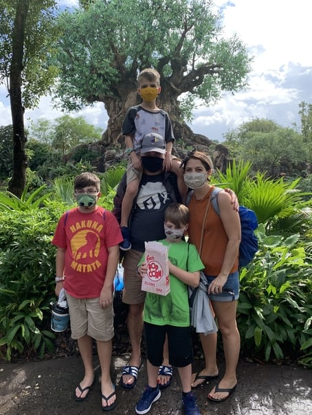 Family photo in front of the Tree of Life at Animal Kingdom