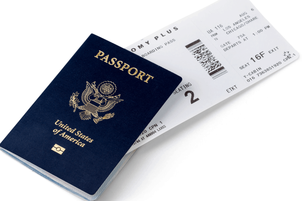 passport with boarding pass