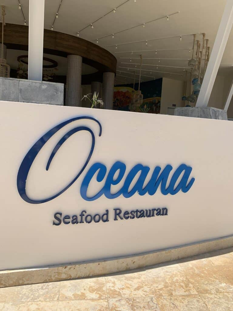 Oceana Seafood restaurant sign at Dreams Macao in Punta Cana