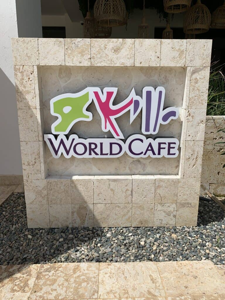 World Cafe sign at Dreams Macao in Punta Cana