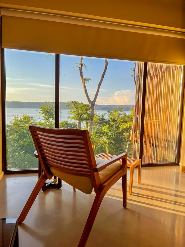 Chair in hotel room at the Hyatt in Costa Rica with views of the bay at Peninsula Papagayo