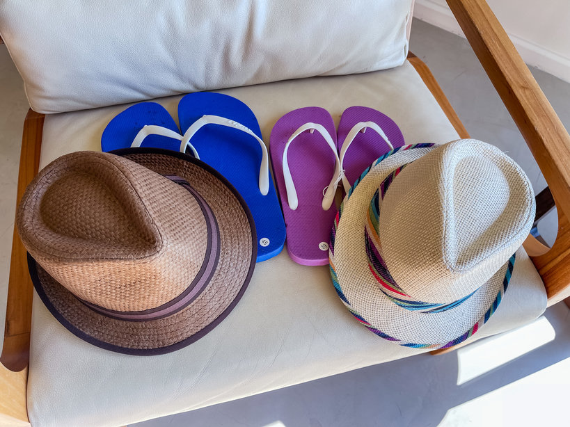 His and hers hats and flip flops provided by the Andaz Costa Rica