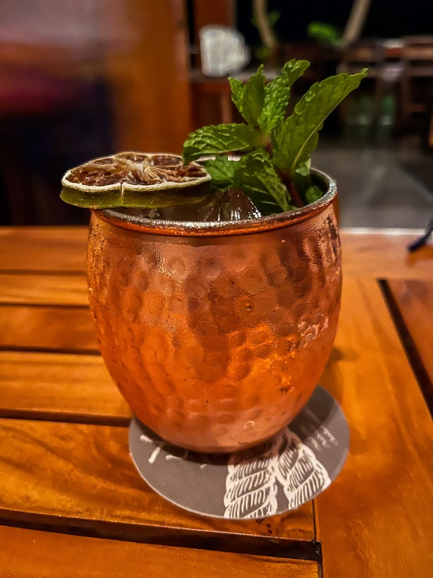 Cocktail in copper mug at Chao Pescao restaurant at the Andaz Costa Rica