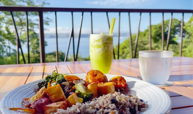 Globalist Breakfast with green smoothie overlooking the Peninsula Papagayo at the Hyatt Andaz