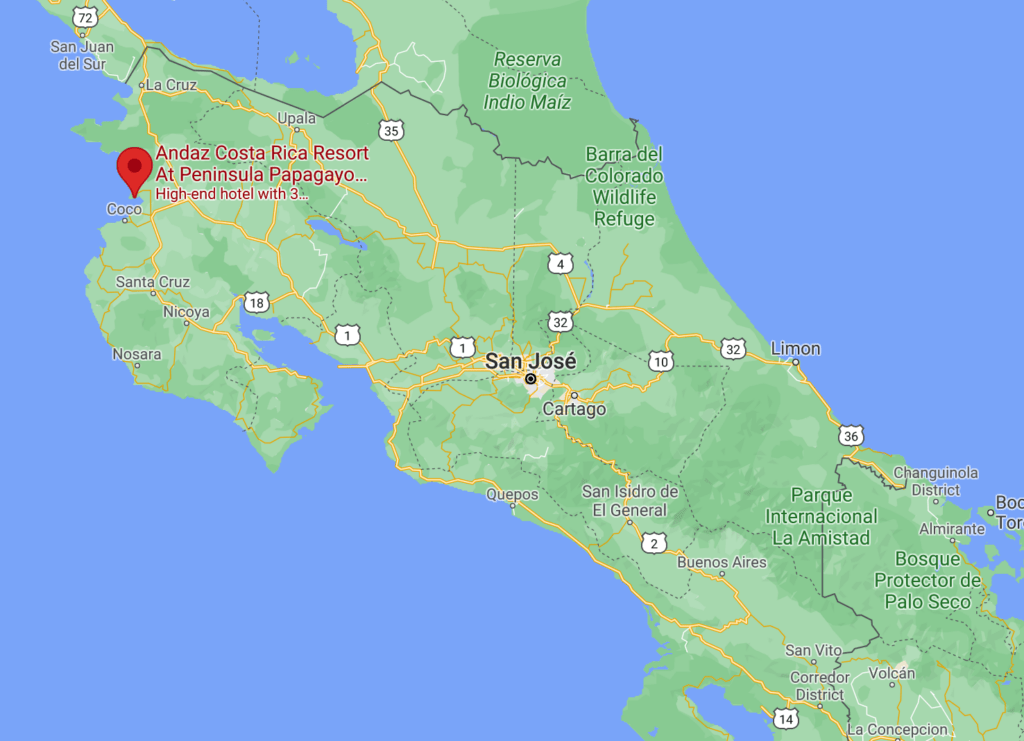Map of Costa Rica showing location of Andaz Papagayo Resort