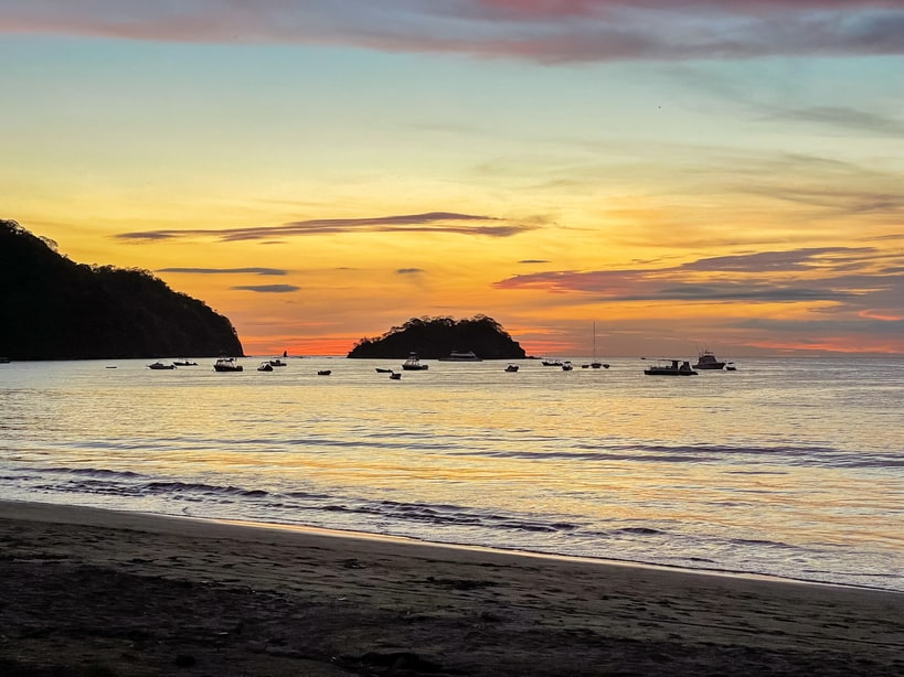 The sunset at Playa Del Coco in Costa Rica