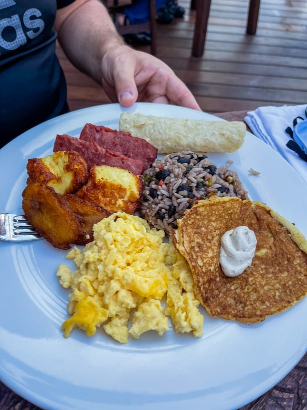 Traditional Costa Rican breakfast at Amor Arenal hotel