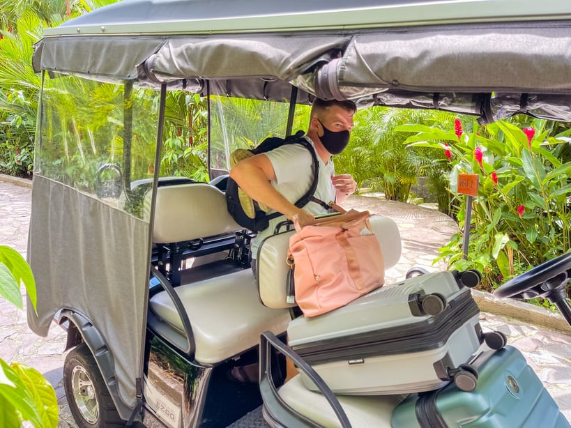 golf carts provided for transport on hotel grounds