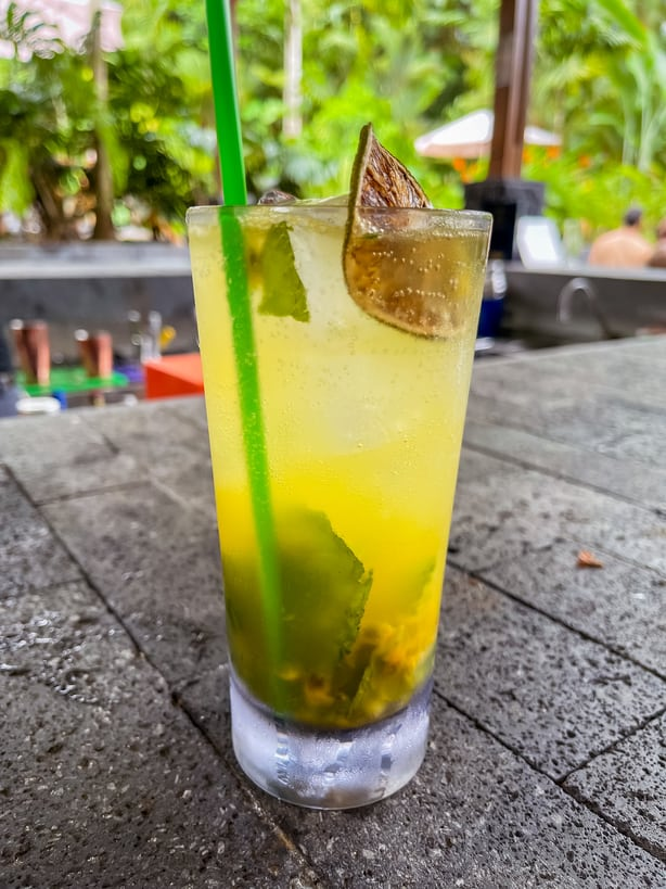 Specialty cocktail at Amor Arenal pool bar