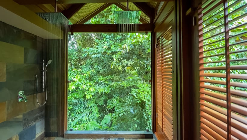 Large shower with rainforest views at Amor Arenal Costa Rica