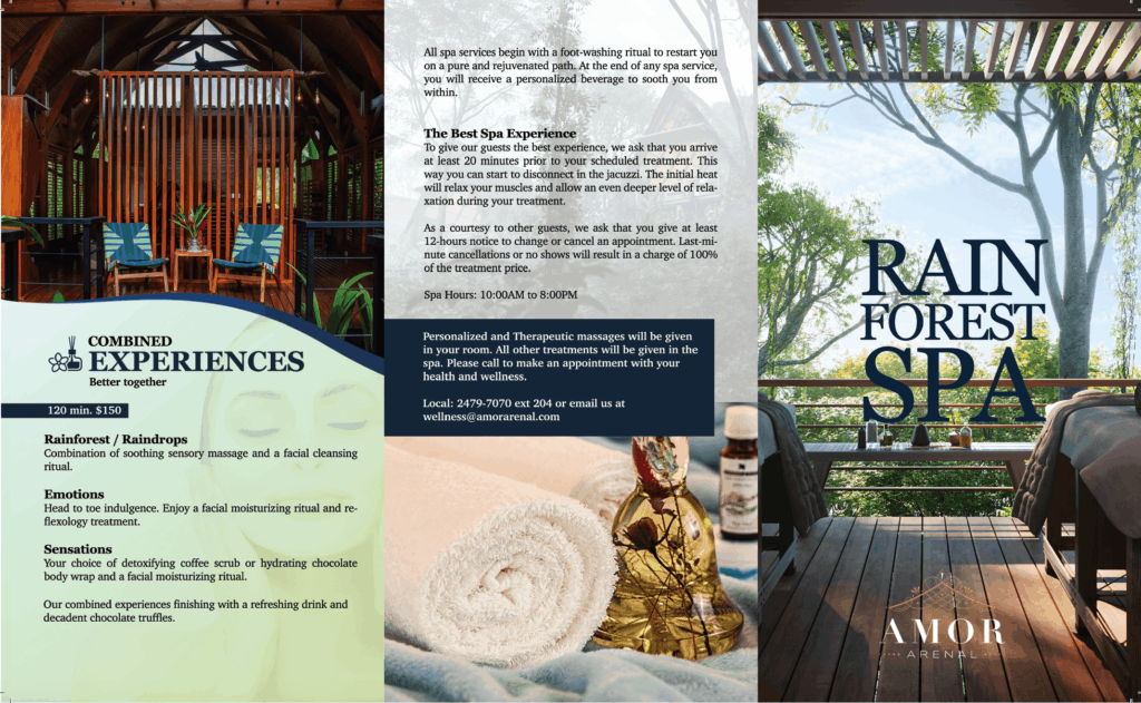 Menu of spa services at Amor Arenal Hotel in Costa Rica