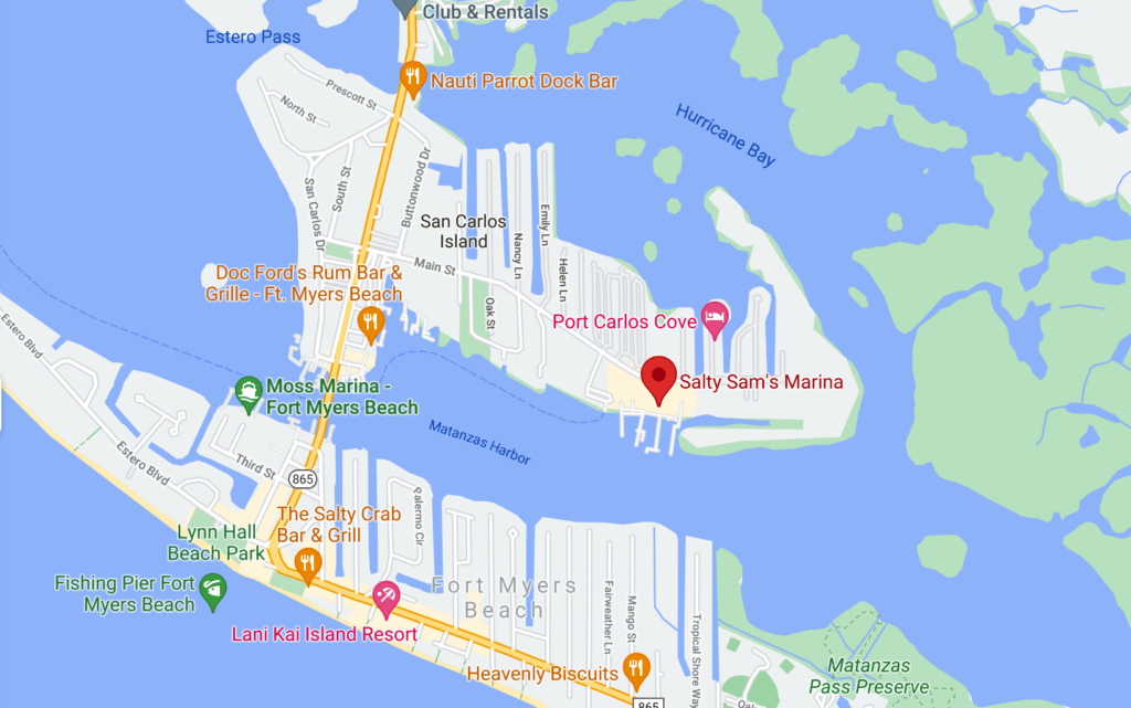 Map of Fort Myers Beach showing location of Salty Sam's Marina and Florida Pirate Cruise